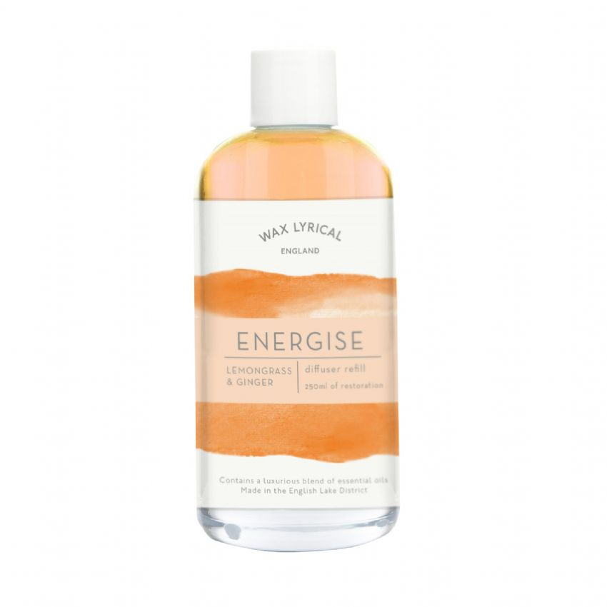 Energise Lemongrass & Ginger Two-Tone Diffuser Refill Equilibrium Wax Lyrical 250ml